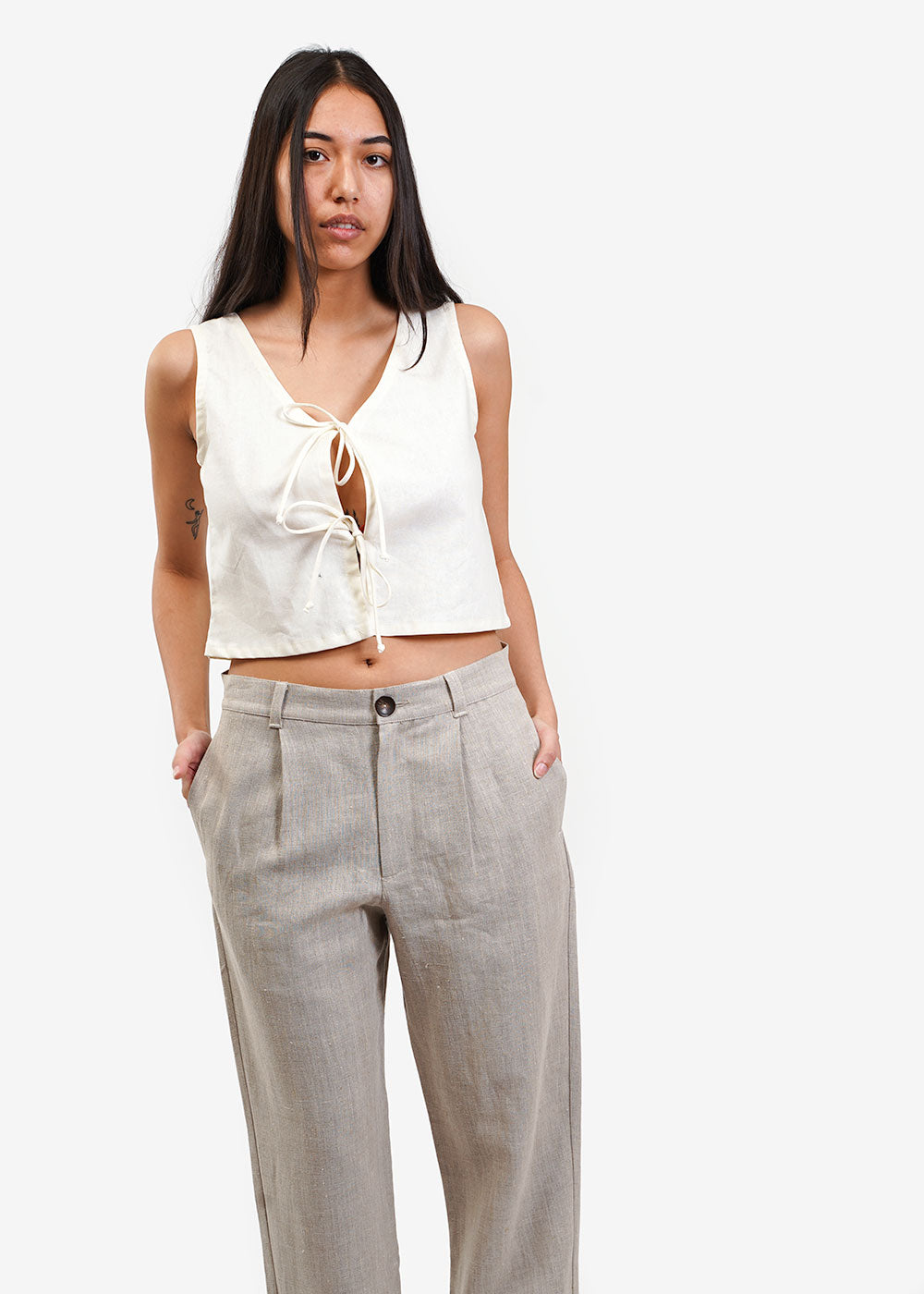 Lisa Says Gah Ivory Capri Tie Top — Shop sustainable fashion and slow fashion at New Classics Studios
