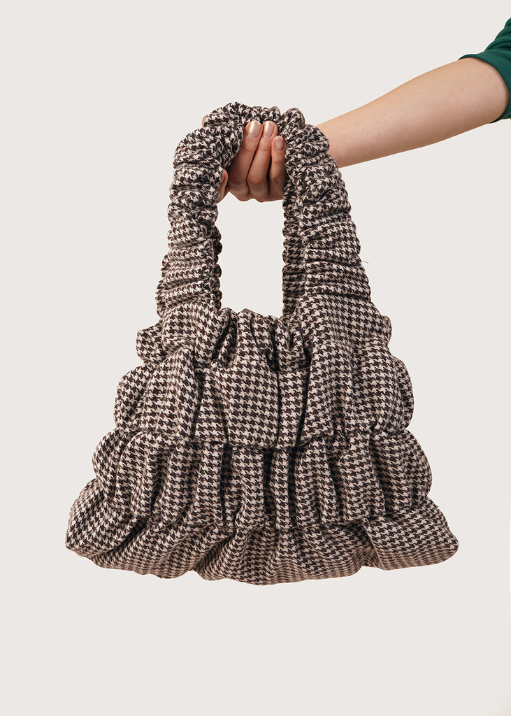Brown Houndstooth Bungee Tote