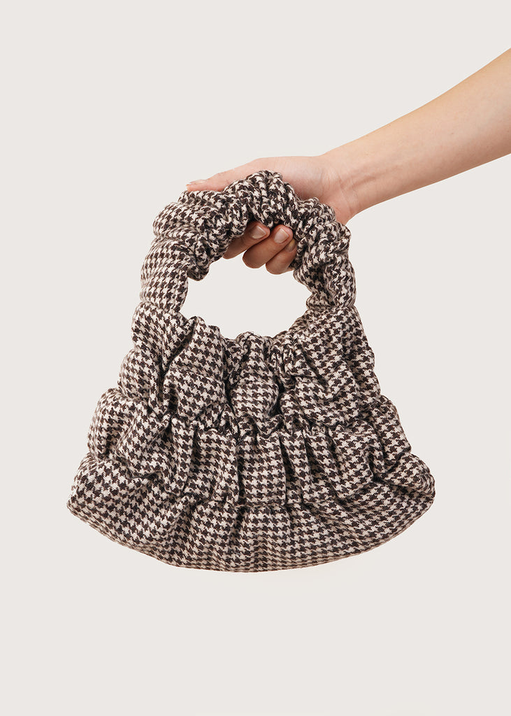 Brown Houndstooth Mini Pouch