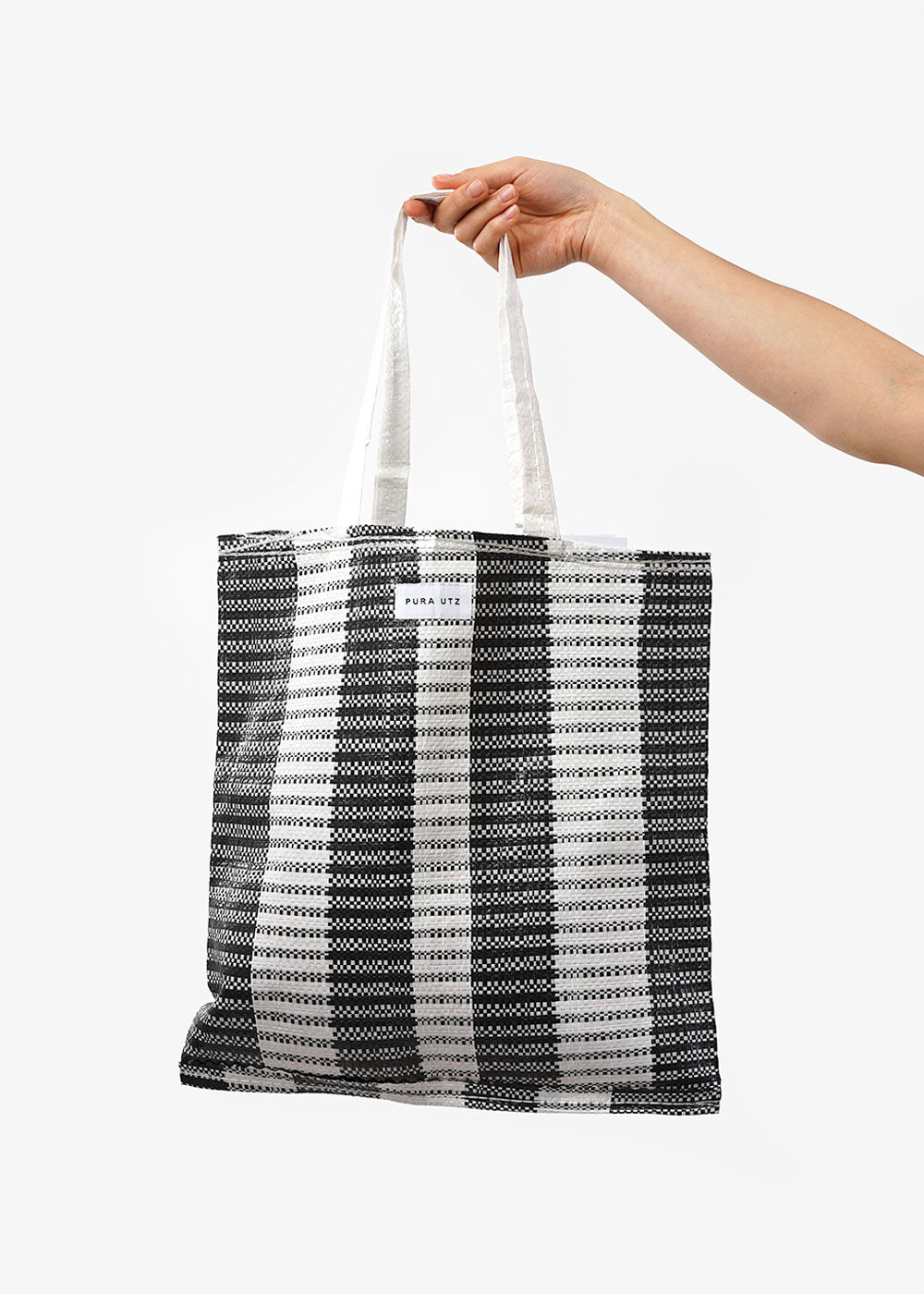 Pura Utz Black/White Plastic Tote — Shop sustainable fashion and slow fashion at New Classics Studios