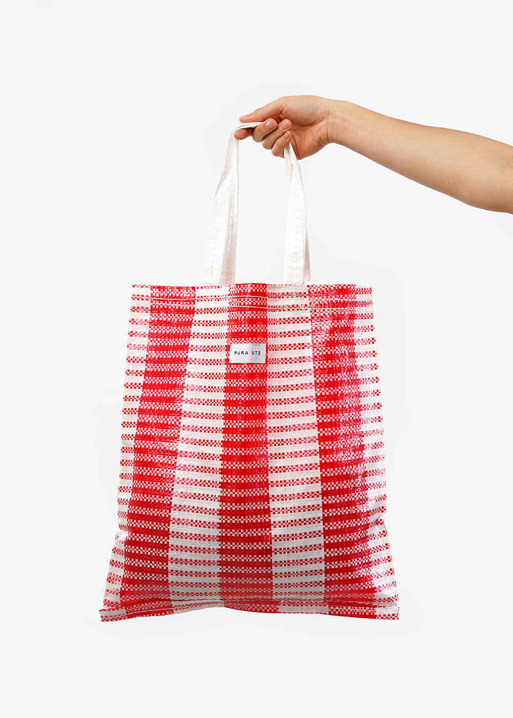 Red/White Plastic Tote