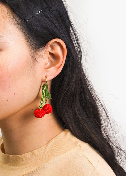 Pura Utz Cherry Beaded Earring — New Classics Studios