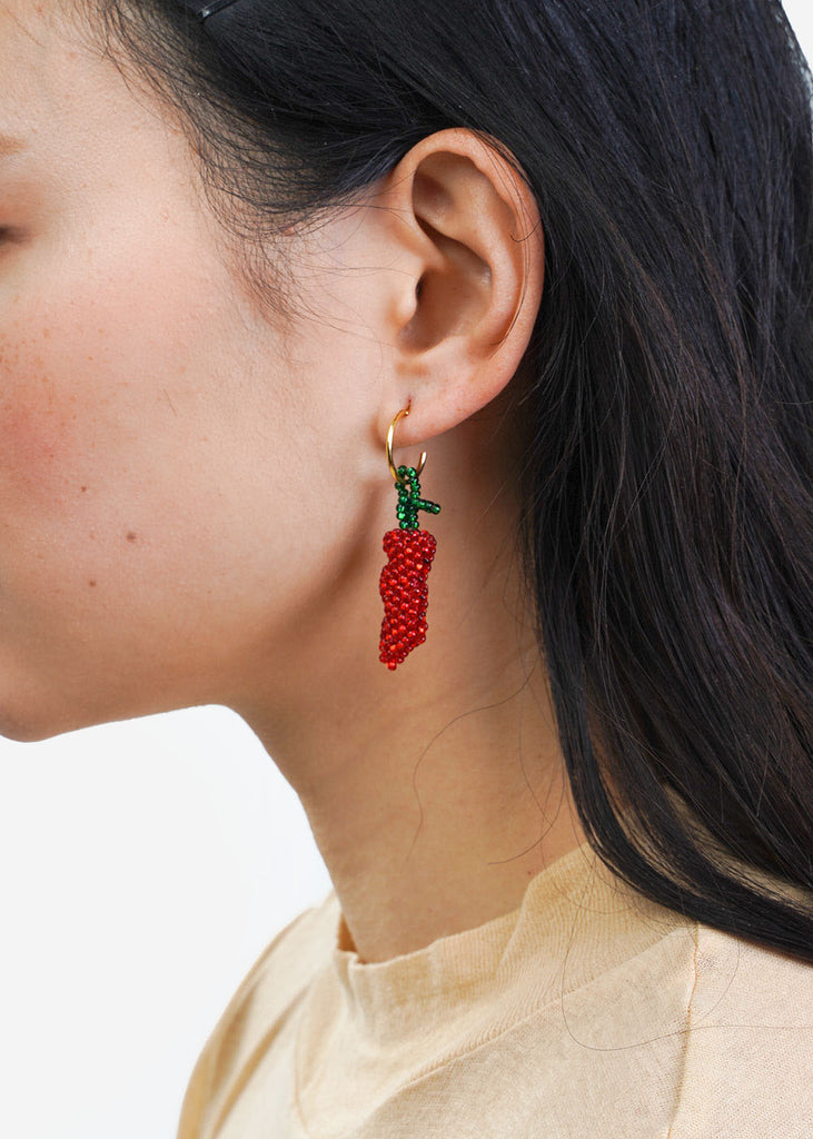 Pura Utz Red Chilli Beaded Earring — New Classics Studios