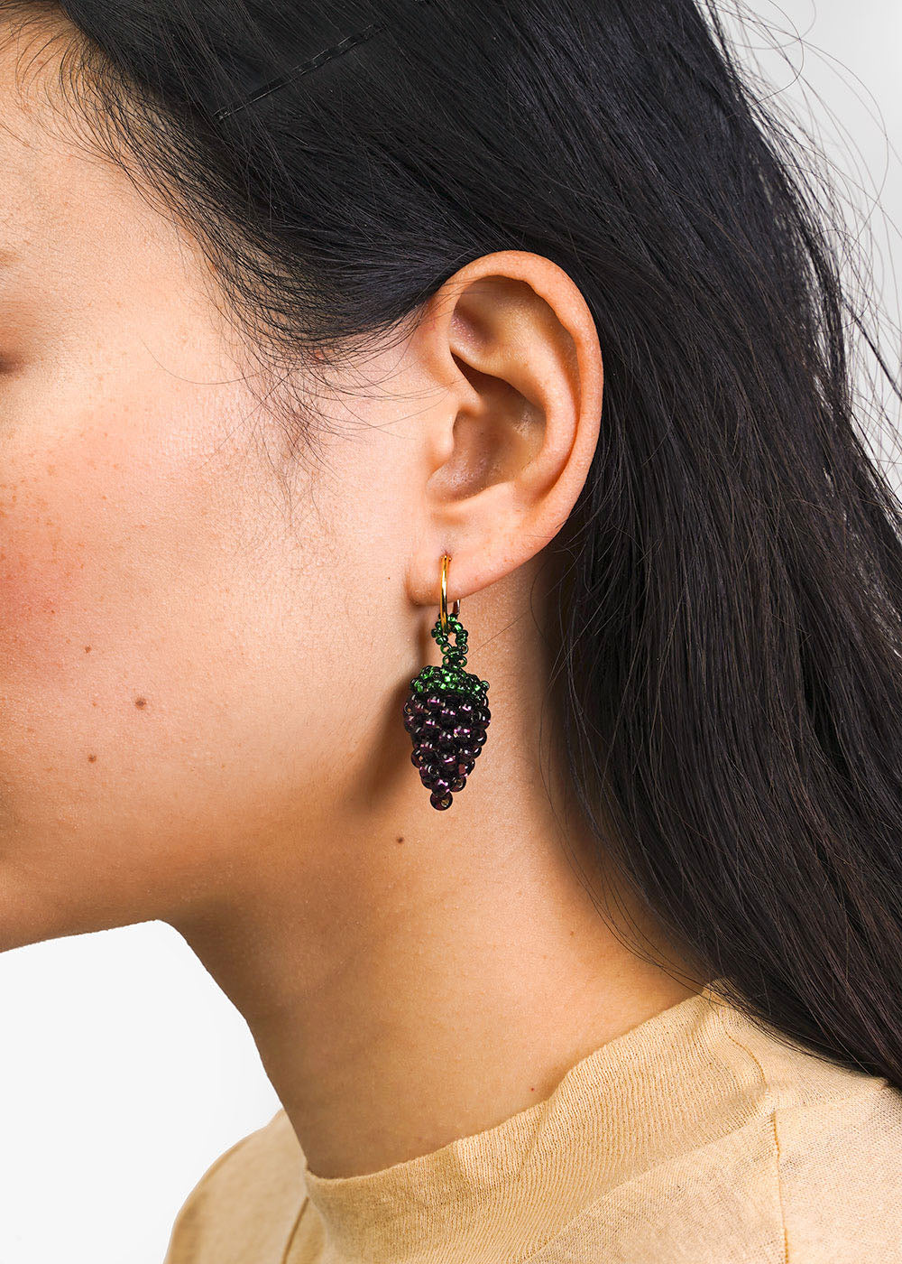 Pura Utz Grape Beaded Earring — New Classics Studios