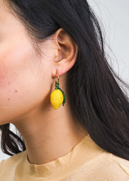 Lemon Beaded Earring