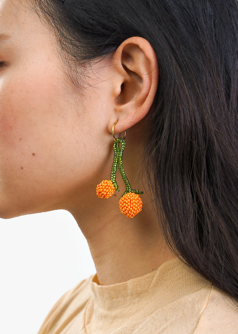 Pura Utz Orange Beaded Earring — New Classics Studios
