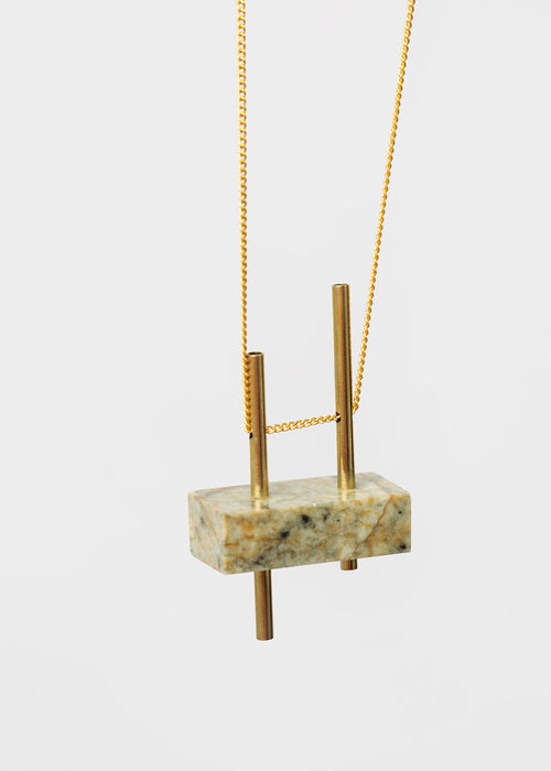 Stable State Twin Earth Erode Stone Necklace — New Classics Studios