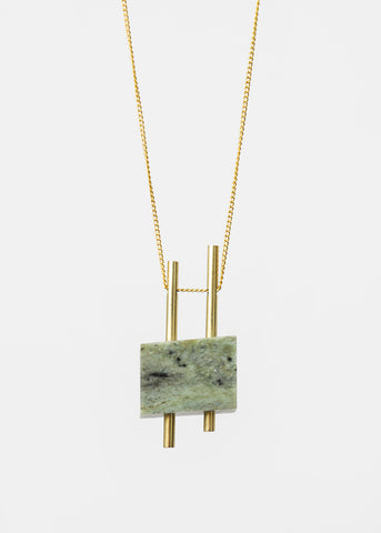 Twin Laurel Erode Stone Necklace