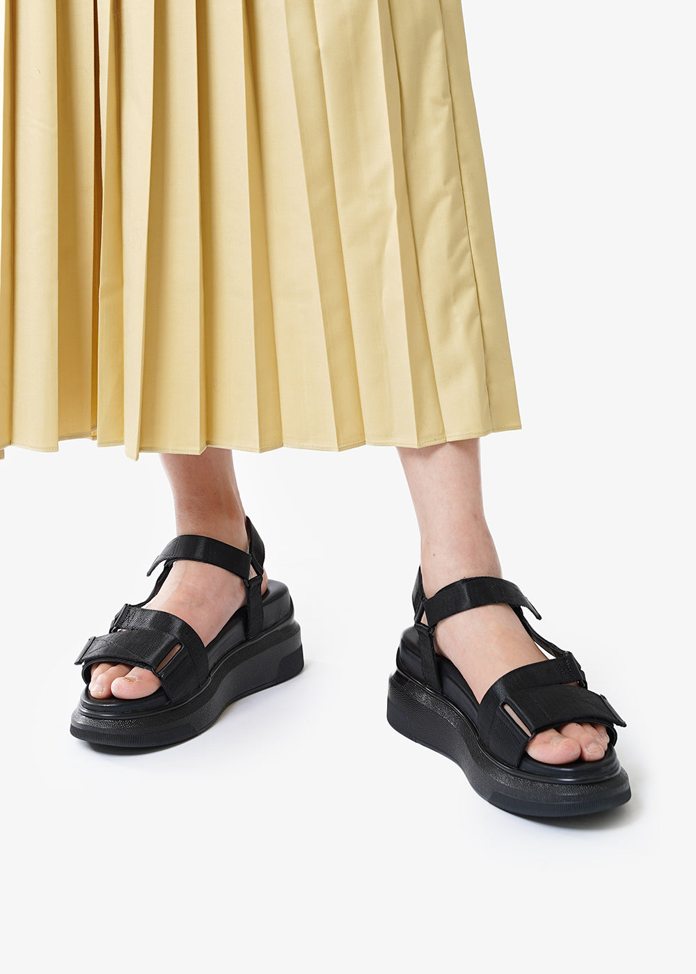 Suzanne Rae Black Velcro Sandals — Shop sustainable fashion and slow fashion at New Classics Studios