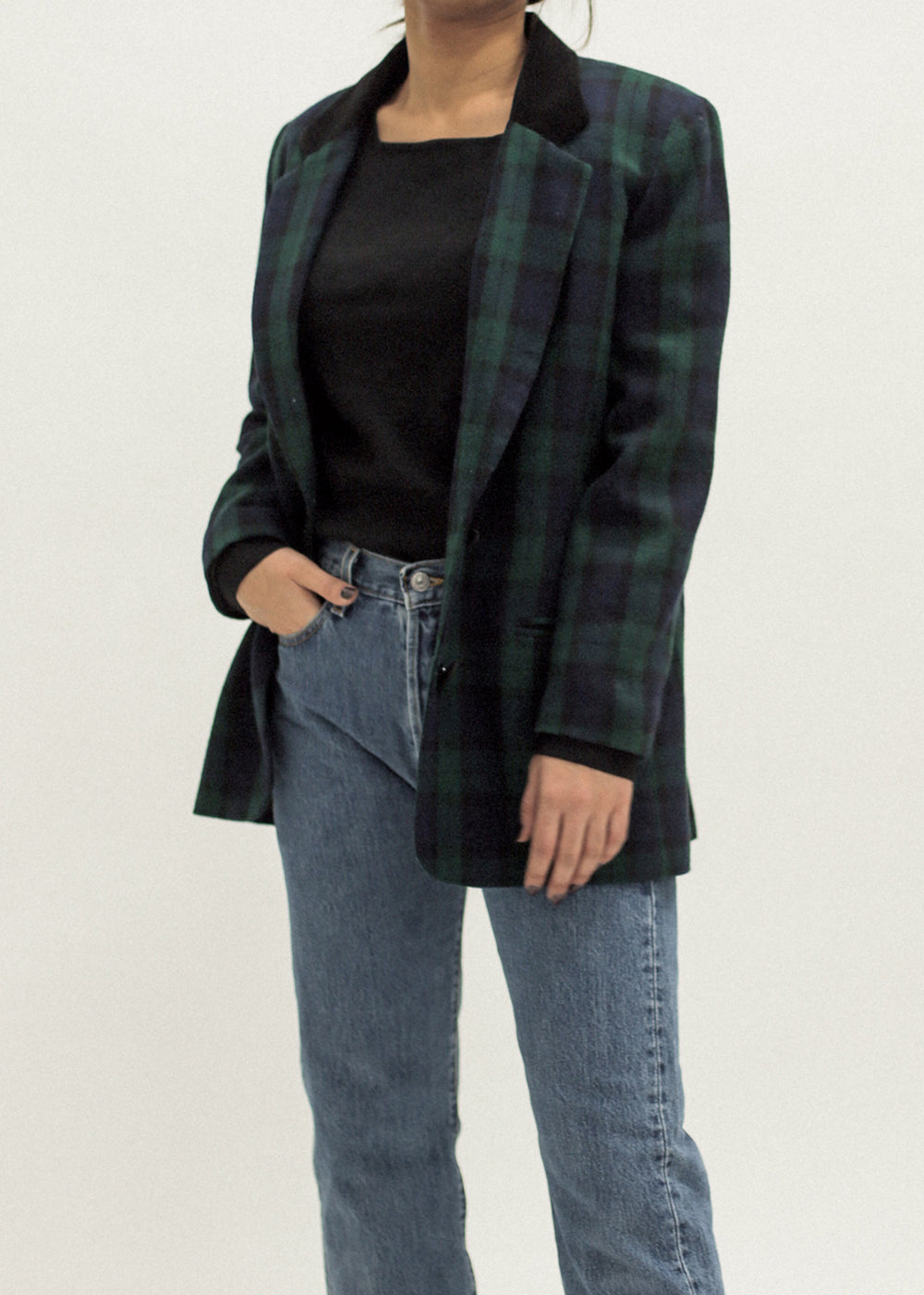 Pre by New Classics Vintage Tartan Blazer with Velvet Collar — Shop sustainable fashion and slow fashion at New Classics Studios