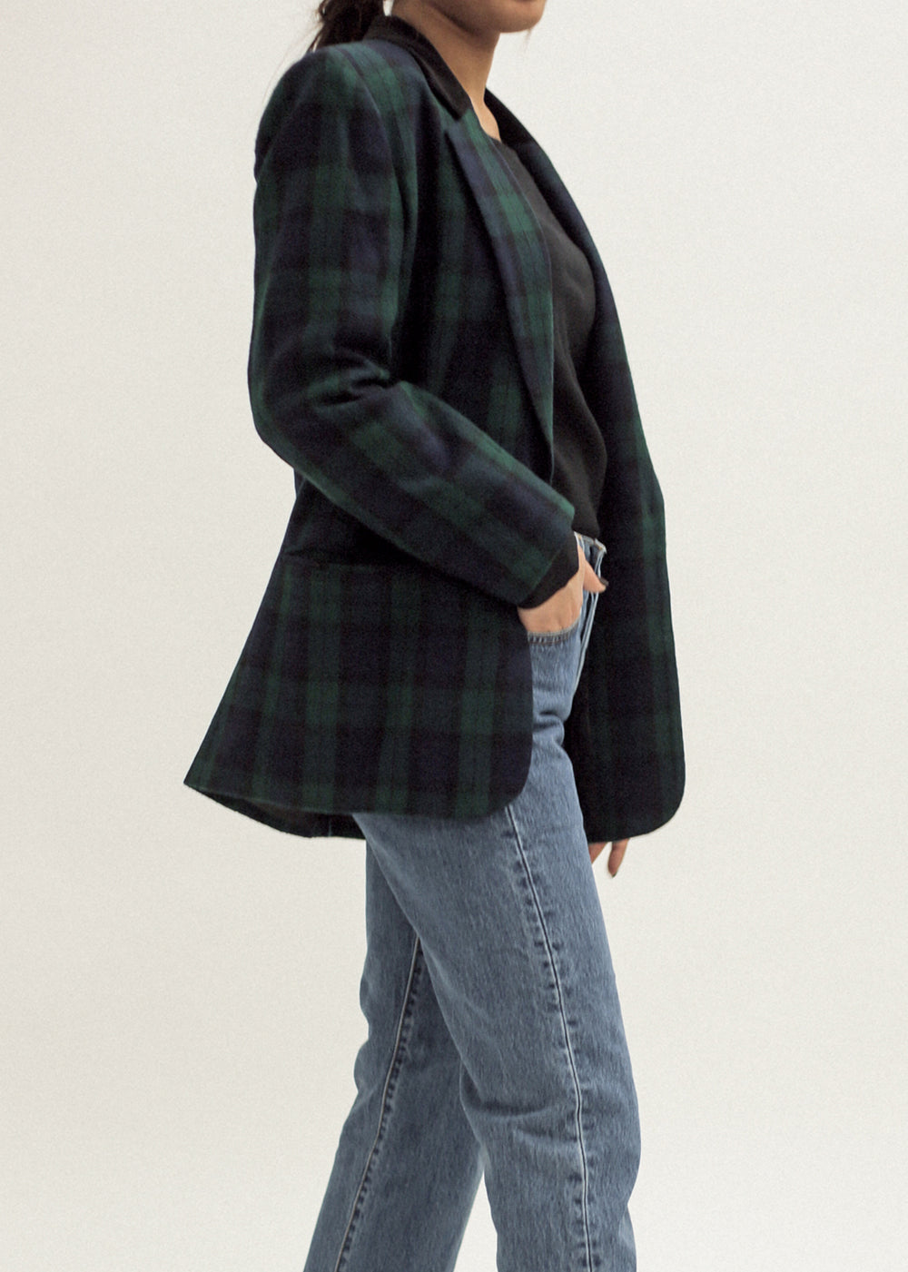 Pre by New Classics Vintage Tartan Blazer with Velvet Collar — New Classics Studios