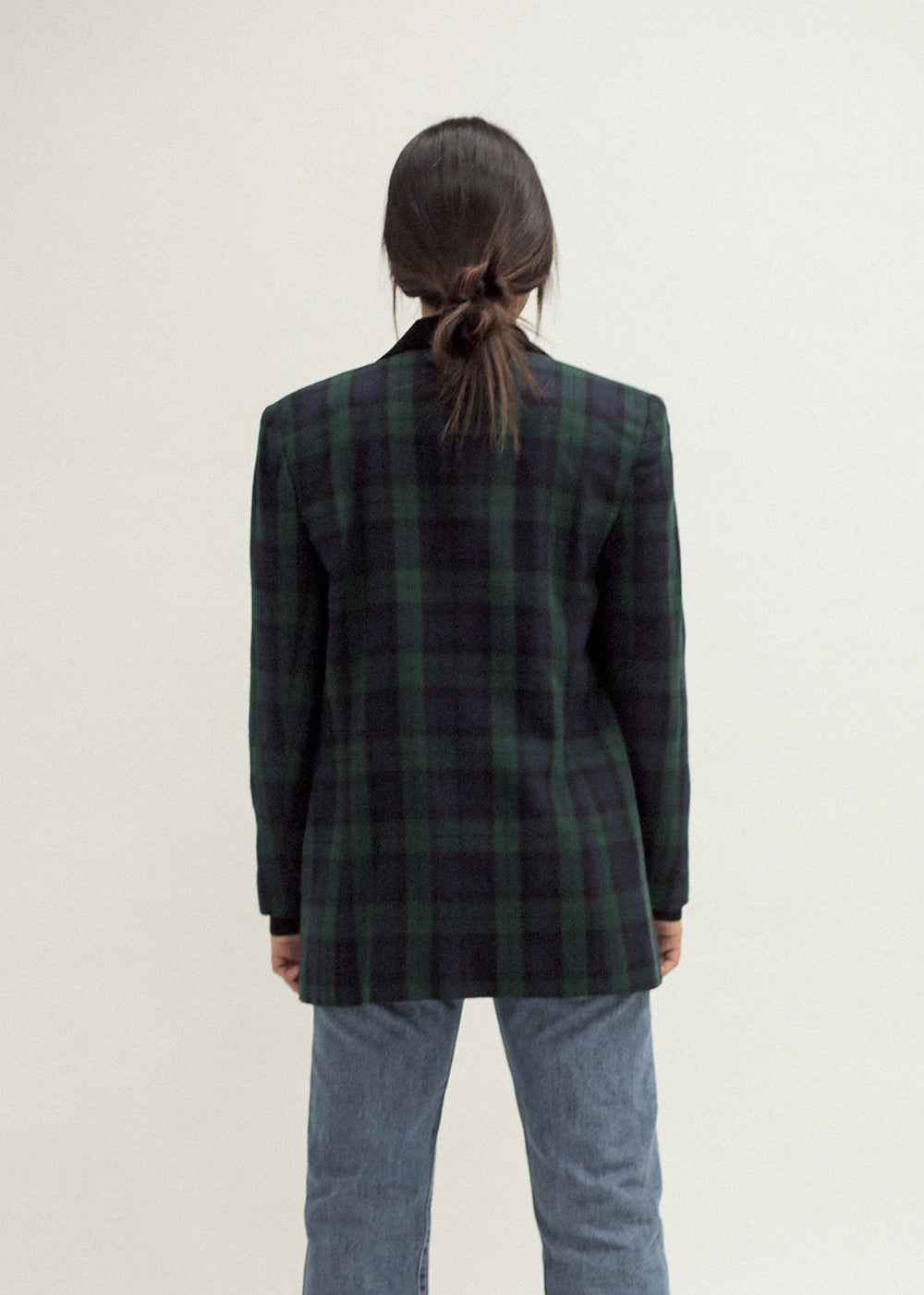 Vintage Tartan Blazer with Velvet Collar