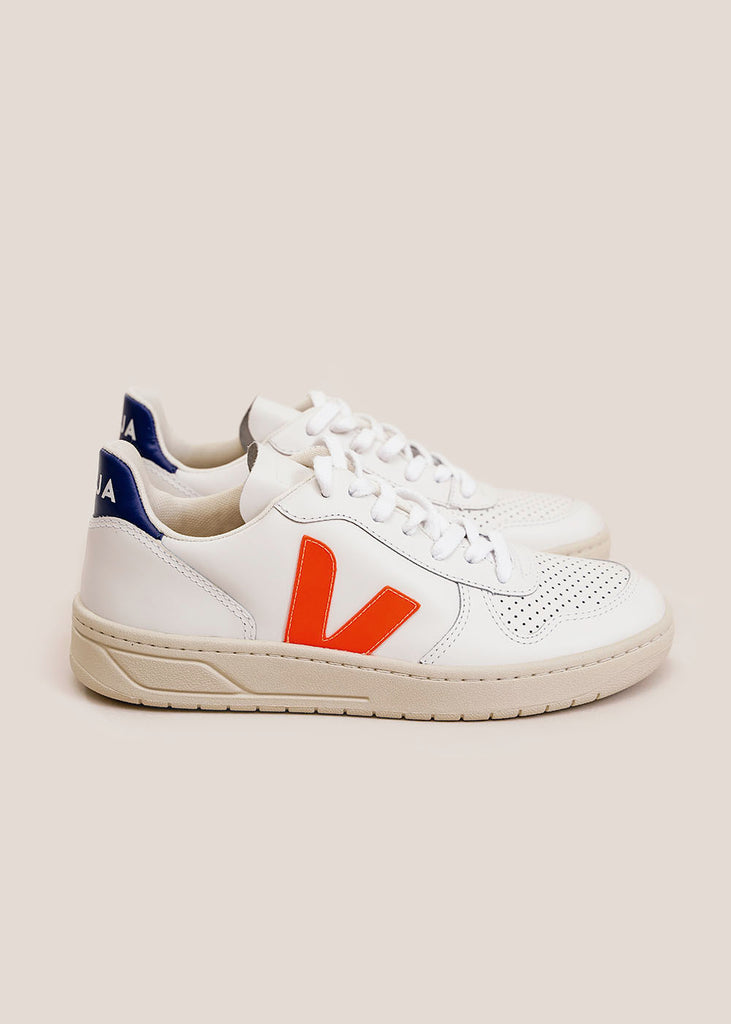 White Orange-Fluo Cobalt V-10 Sneakers