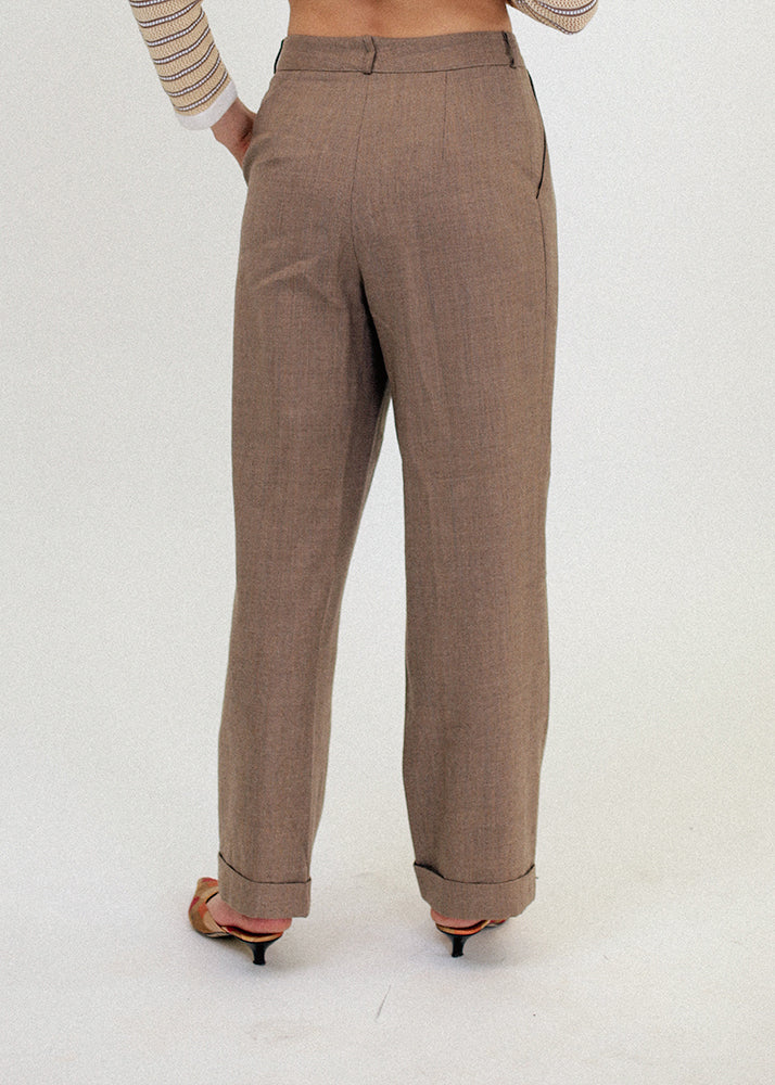 Vintage Cuffed High Waist Trousers