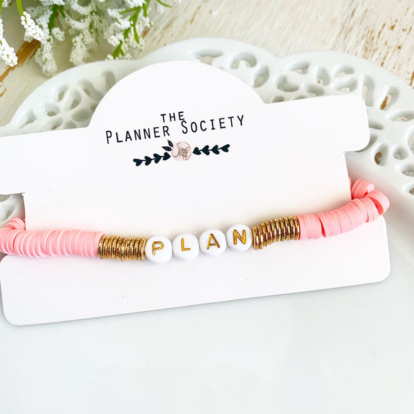 Clay Disc Bracelet: Plan (coral)