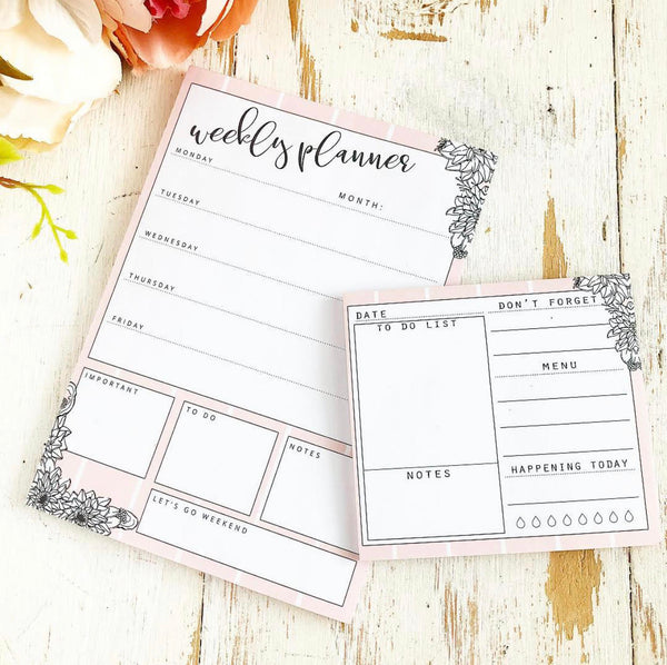 TPS Sticky Note/Note Pad: Pink Floral To Do