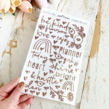 Puffy Stickers: Rose Gold Foil