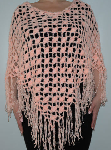 Light Pink Soft Knitted Boho Poncho Shawl