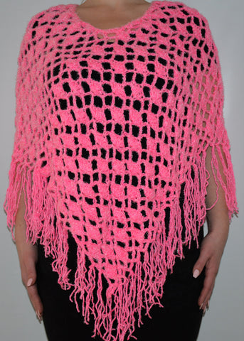 Bright Pink Knitted Boho Poncho Shawl