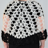 Soft Black White Knitted Boho Poncho Shawl