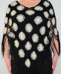 Black White Soft Knitted Boho Poncho Shawl
