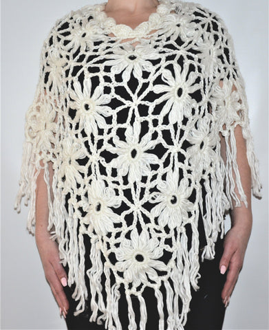 White Knitted Boho Poncho Shawl