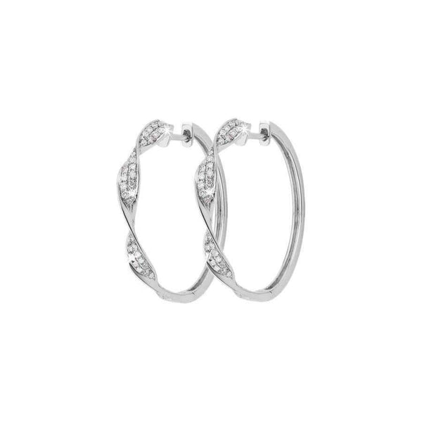 0.36ct Diamond Twisted Hoop Earrings in 9ct White Gold Diamond Hoop Earrings