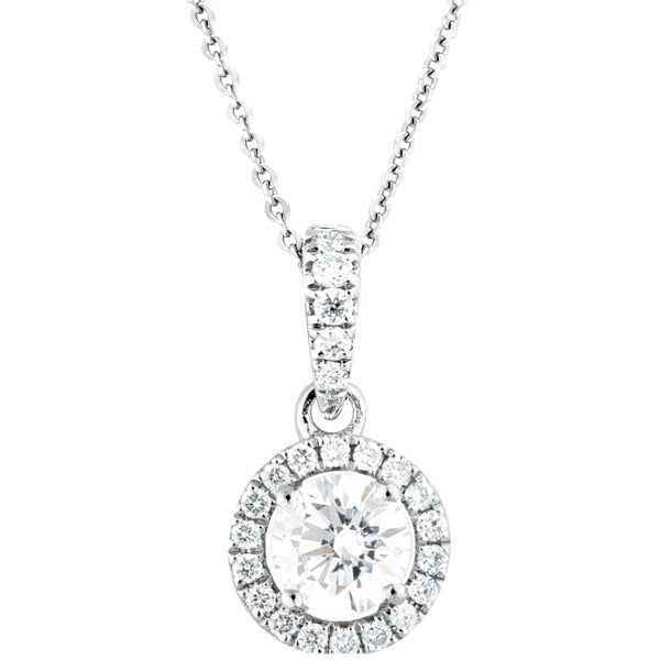 0.36ct Diamond Halo Pendant on chain in 14K white Gold