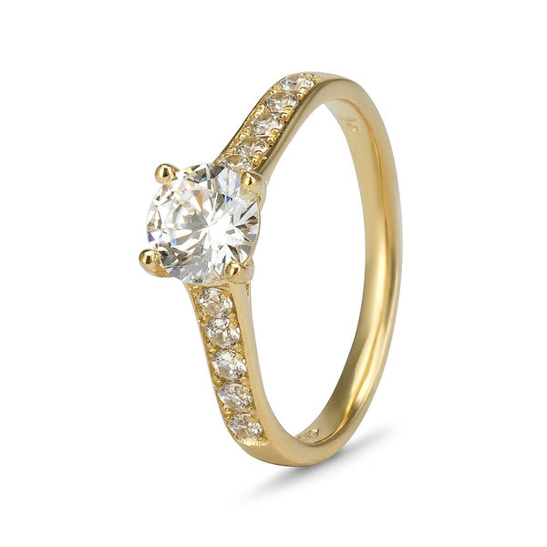 YES! Solitaire & Pavé CZ Ring in 9ct Yellow Gold