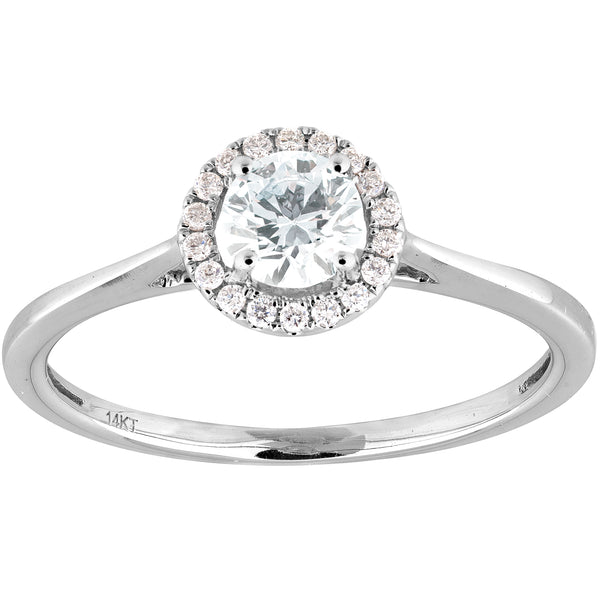 0.34ct Diamond Halo Ring in 14K white Gold