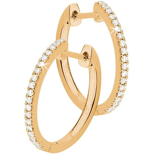 Variety Diamond Hoop Earrings in 9ct Yellow Gold Claw Set Hoop Earrings