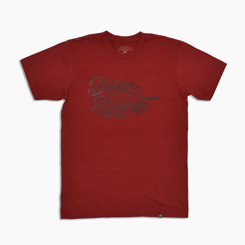 Dope Script Tee in Cranberry