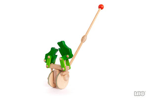 Wooden Jumping Frogs Push Toy