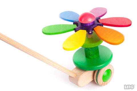 Wooden Flower Rainbow Pull/Push Toy