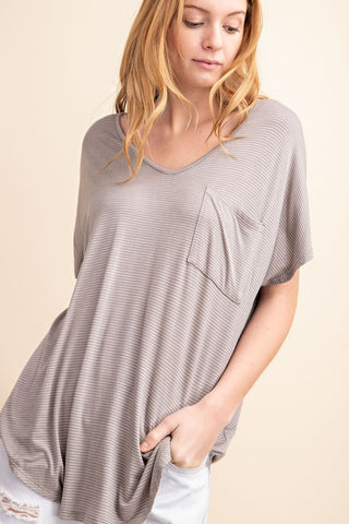 A Fine Line Grey Striped Tee