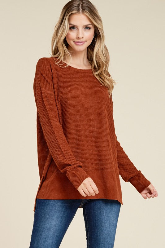 Here Again Waffle Knit Sweater in Rust