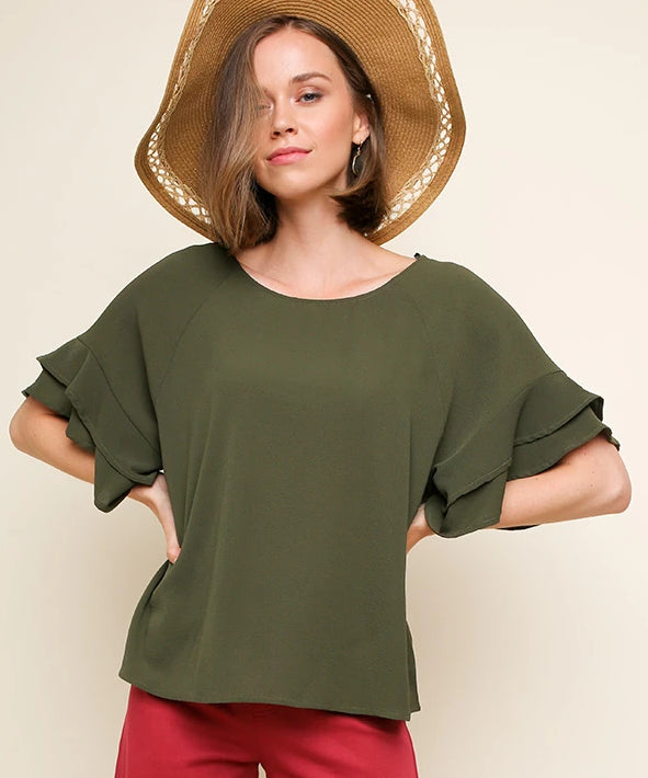 Sweet and Simple Top in Olive