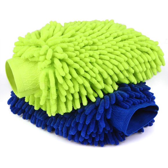 Car Wash Mitts- 2 Pack Extra Large Size - Winter Waterproof -Premium Chenille Microfiber Car Wash mitt - Lint Free - Scratch Free