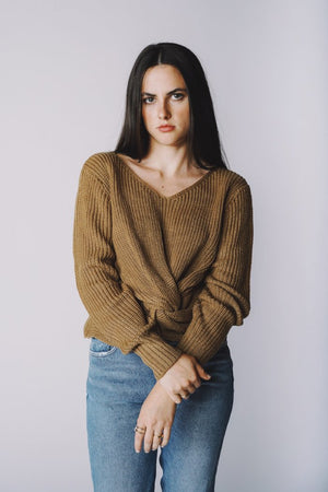 Jojo Twist taupe knit Sweater | Pipe and Row Boutique Seattle