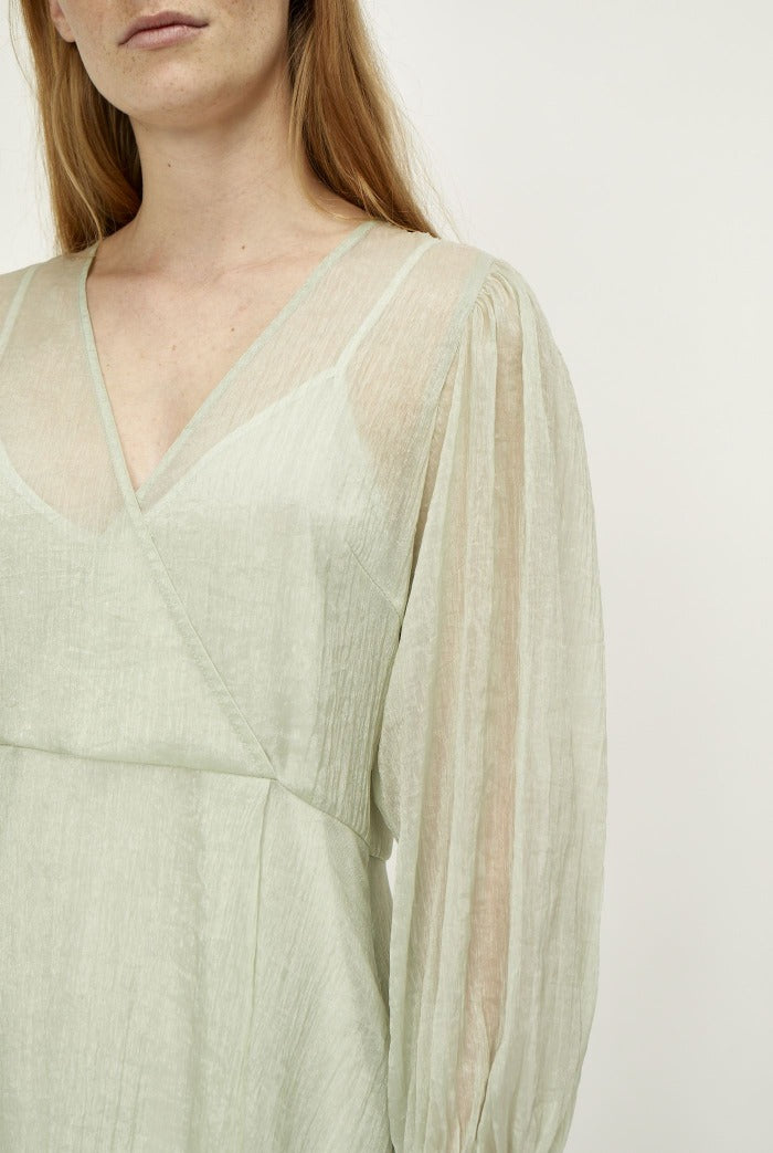 Just Female Sanne midi dress chiffon seafoam green agate grey | Pipe and Row