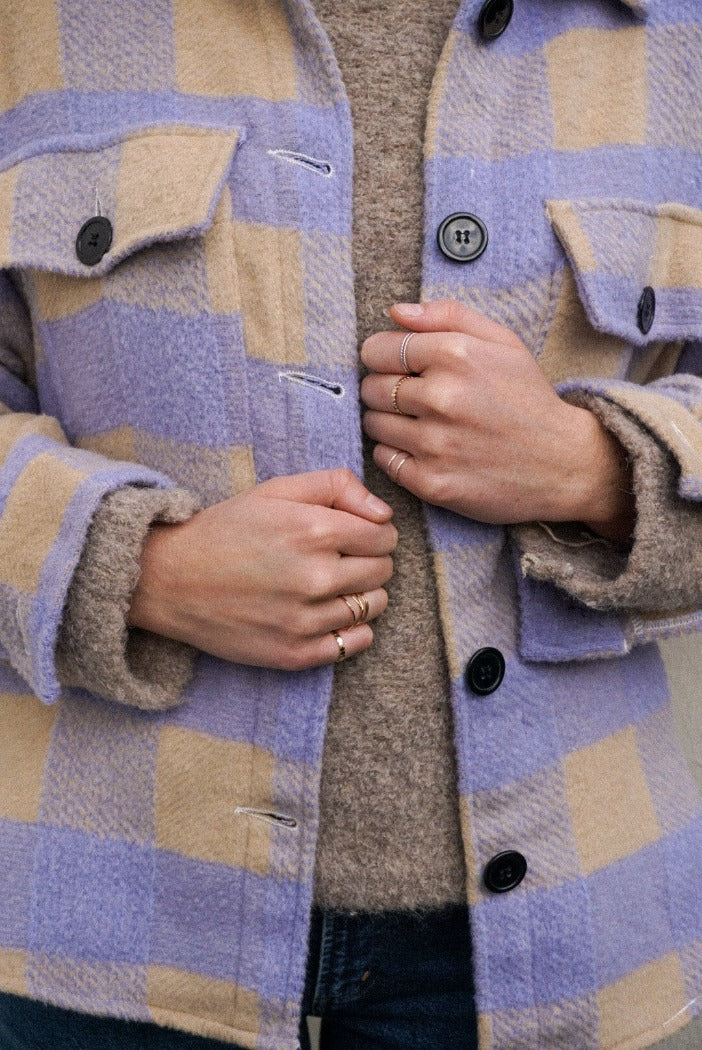 Dylan plaid button up shirt flannel shacket lilac and tan | pipe and row