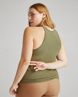 Richer Poorer vintage rib knit racer tank olive army green | Pipe and Row