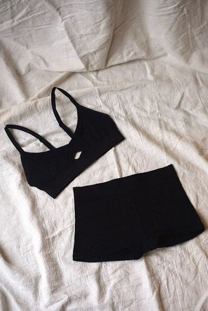 Richer Poorer cut out center soft bralette black | pipe and row boutique seattle