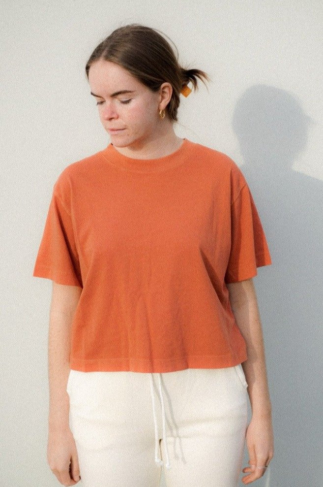 Richer Poorer redwood relaxed short sleeve crop tee cotton | Pipe and Row