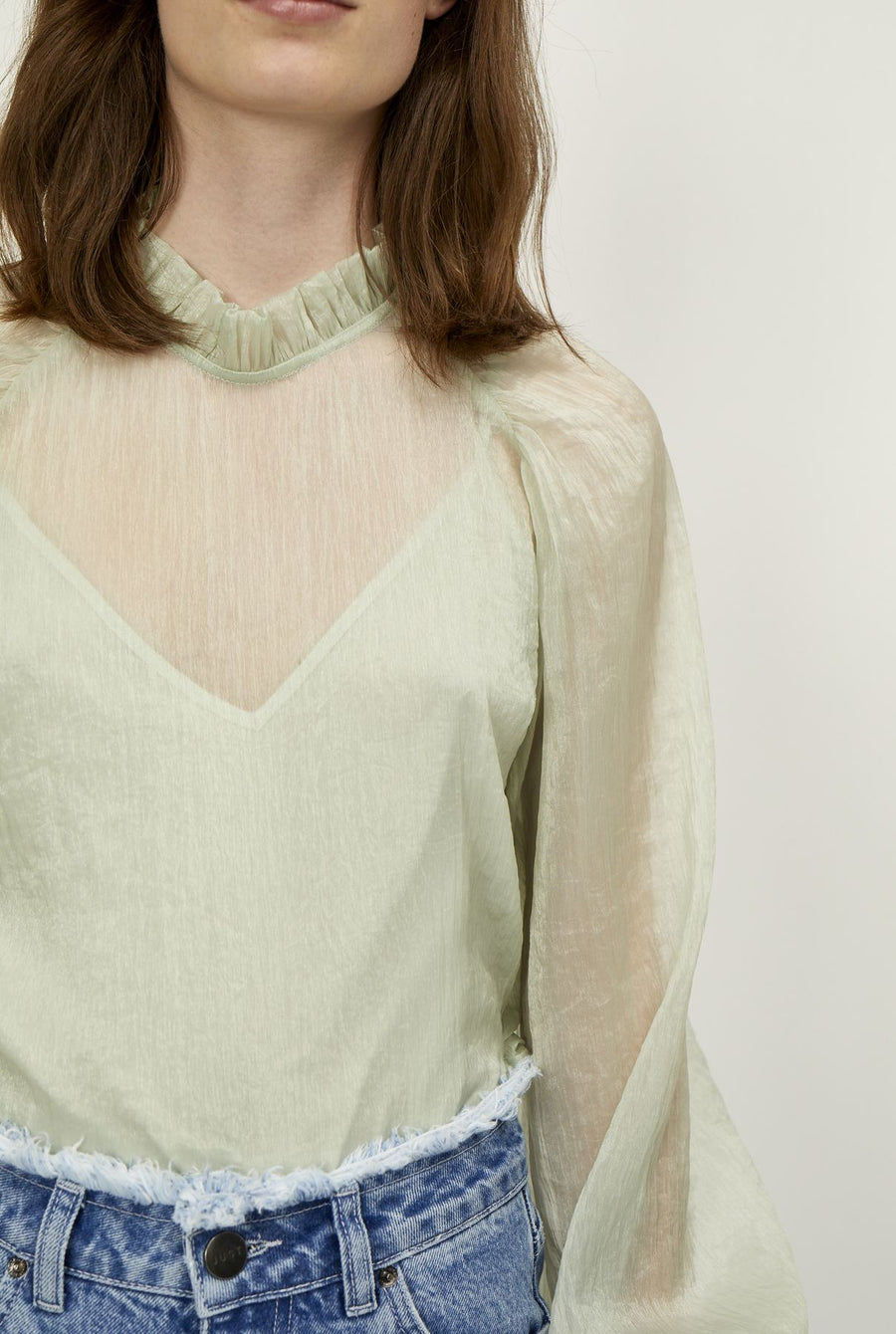 Just Female Sanne chiffon seafoam green blouse | pipe and row
