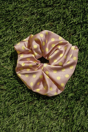 Silky oversized silky pink with yellow polka dots satin scrunchy | pipe and row
