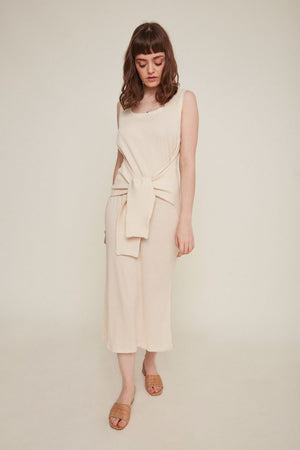 Rita Row ribbed midi Gabriela dress tie front cream knit comfortable | pipe and Row boutique