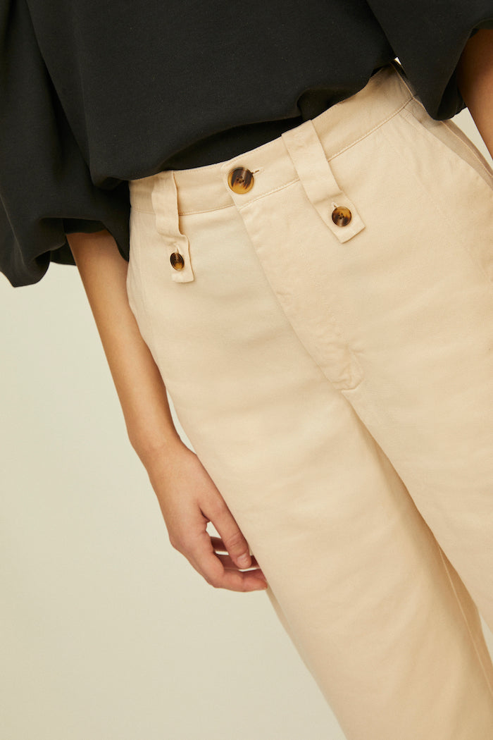 Rita Row Filipa high waist straight trouser pants cream sand | pipe and row