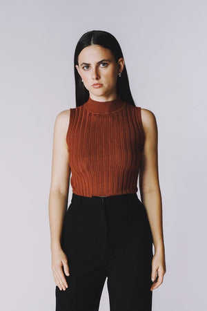Lenora mockneck fitted ribbed sleeveless top | PIPE AND ROW Staples