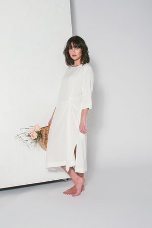 KNOT DRAPE DRESS IVORY